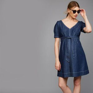 A Pea in the Pod Fit and Flare Denim Dress